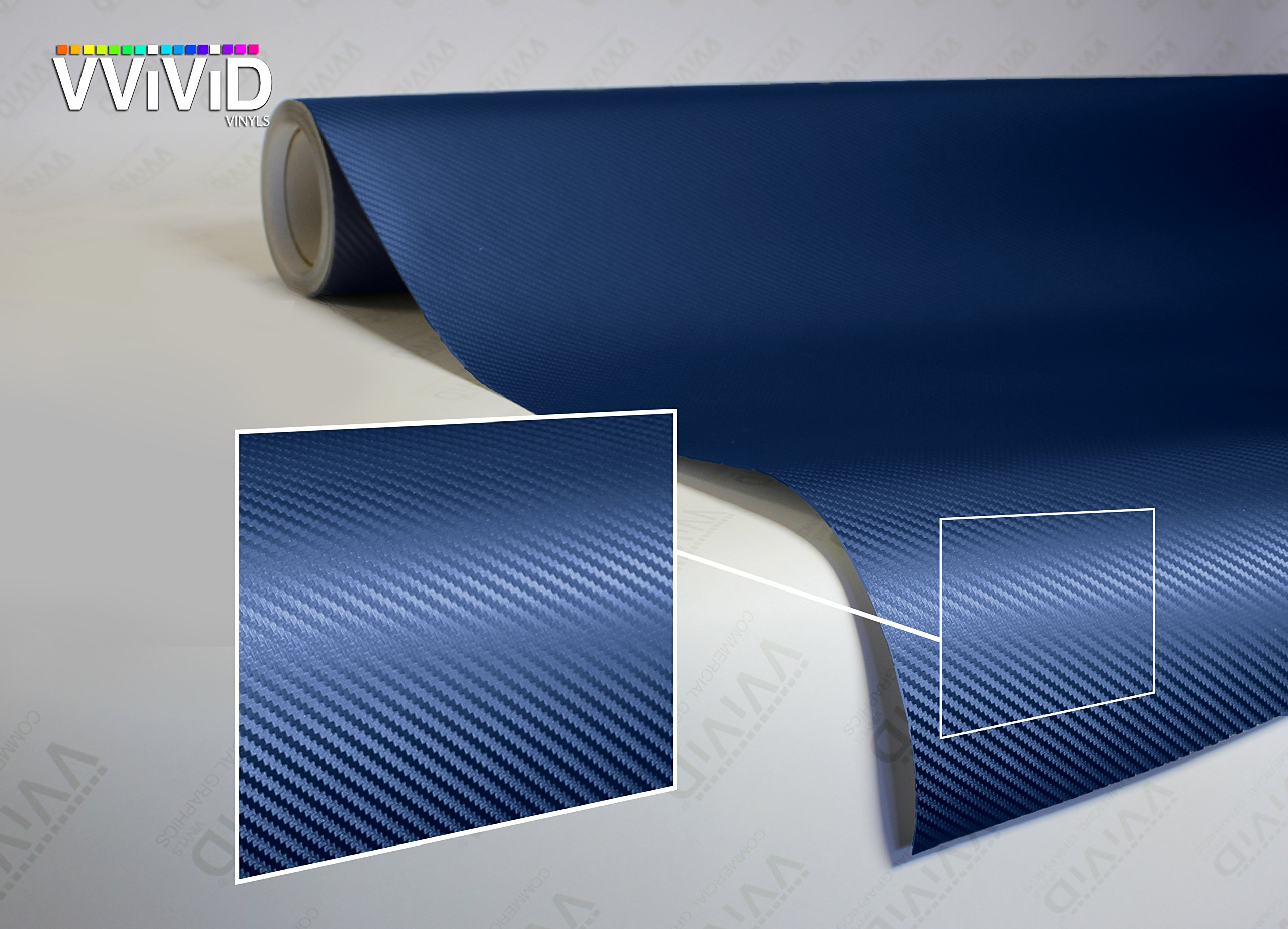 VViViD XPO Dry Navy Blue Carbon Fiber Vinyl Wrap Roll with Air Release Technology (50ft x 5ft)