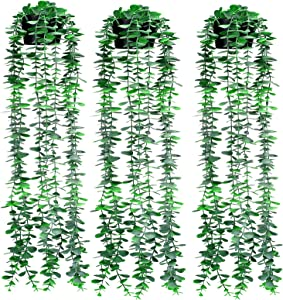 Fake Hanging Plants in Pots Artificial Small Potted Plant 3 Pack Fake Faux Eucalyptus Greenery with Black Potted Leaf Plant Ivy Vines for Wall, Office, Indoor Outdoor Home Decor(Dark Green Potted, 3)