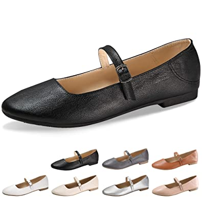 ba8689c14dc58 CINAK Flats Mary Jane Shoes Womens Casual Comfortable Walking Classic  Buckle Ankle Strap Style Ballet Slip On