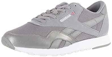 b2ce15deb86 Reebok Men s s Classic Nylon Tech Mix Trainers Grey White Steel 000 6.5 UK