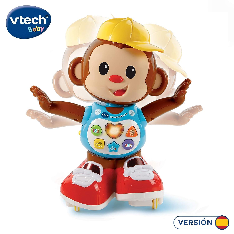 VTech Armando Patinando, Mono Interactivo Que incita al niño a Que le SIGA por Todas Partes, Color Rojo (3480-505922)