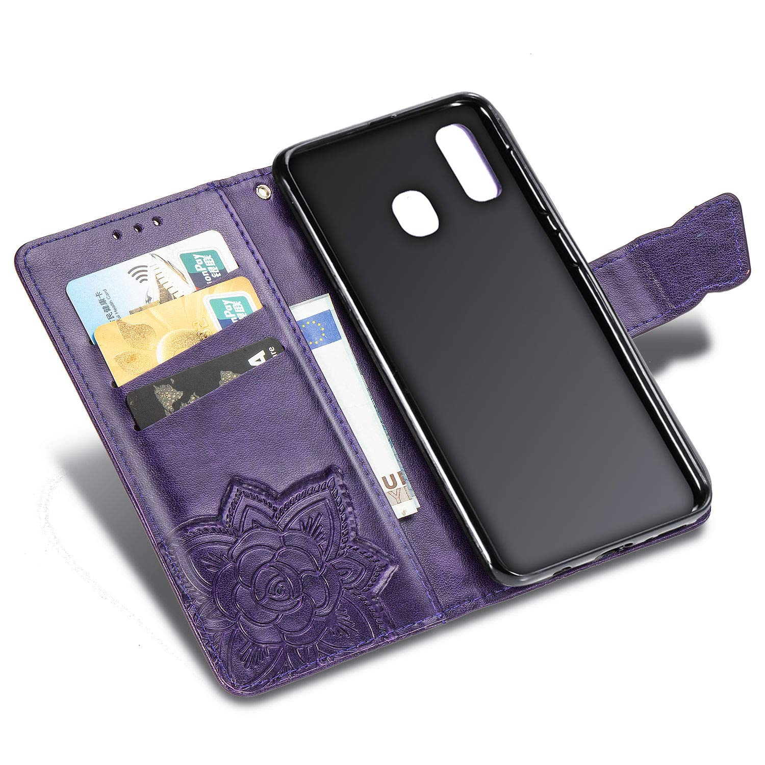 WIWJ Compatible with Samsung Galaxy A40 Case,Flower Butterfly 3D Embossed PU Leather Case with Card Holder Wallet Cover Flip Case Cover for Samsung Galaxy A40-Light Purple