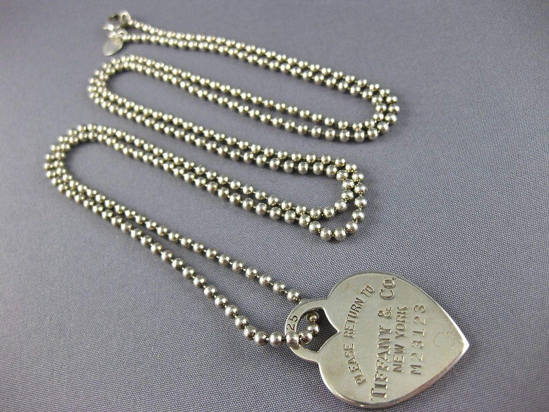 3819a42c6 Amazon.com: Milano Jewelers Long Silver Please Return to Tiffany & CO New  York Heart Pendant #2386: Jewelry