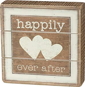 Primitives by Kathy Slat Box Sign Happily Ever After Home Decor