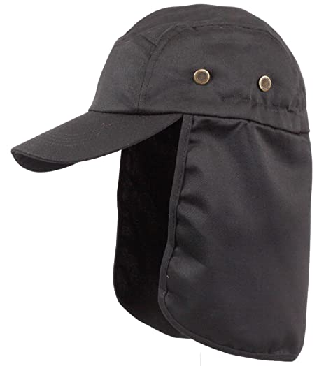 6b25ce408c9b1 LA Gen Men s Cap Neck Cover Hiking Fishing Hunting Camo Army Bucket Sun Flap  (Black