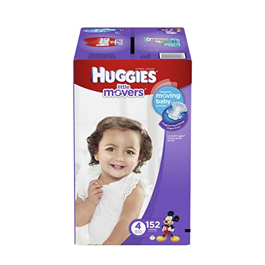Huggies Little Movers Diapers, Size 4, 152 Count (One Month Supply)