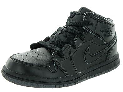 nike air jordan 1 mid basketball shoes black/black