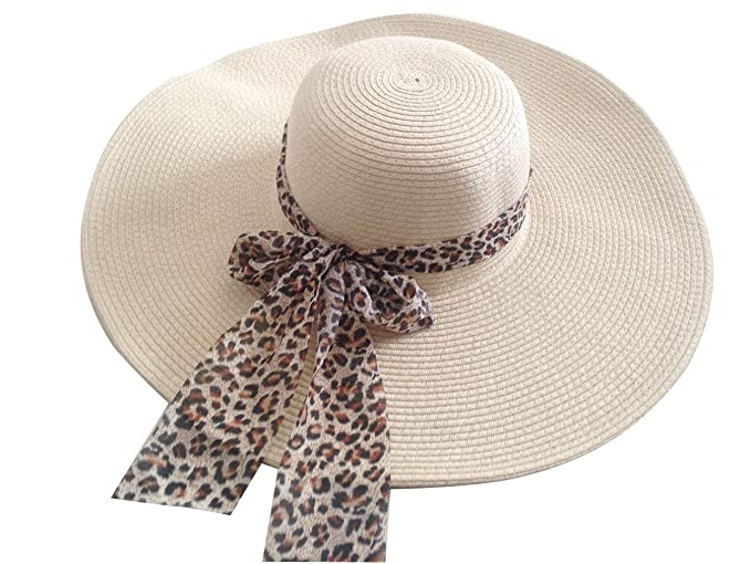 65f24159a Jtc Women Wide Large Brim Straw Beach Sun Floppy Hat Leopard Bow Beige