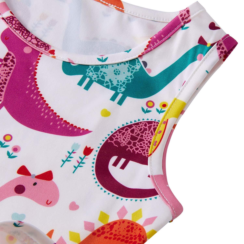 Leapparel Little Girls Funny Cartoon Dresses Crew Neck Sleeveless Skirts Super Cute Dinosaur Printed Sundress Kids One Piece Dress M 6-7 Years Old