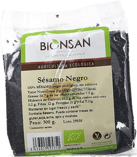 Bionsan Semillas de Sésamo Negro Ecológico - 6 Bolsas de 300 g - Total: 1800 gr.