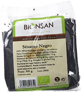 Bionsan Semillas de Sésamo Negro de Cultivo Ecológico | 6 ...