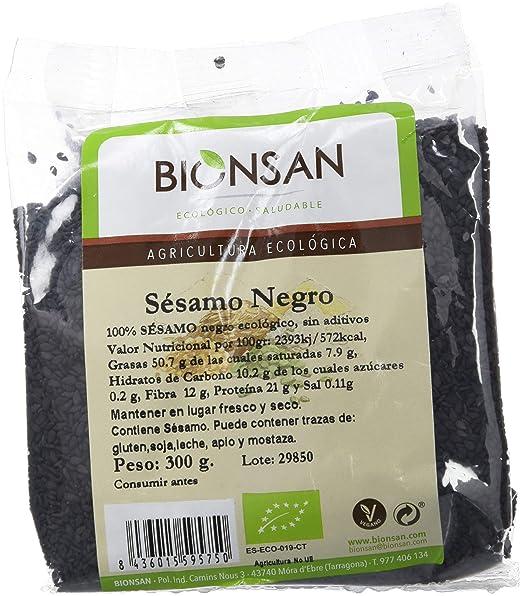 Bionsan Sésamo Negro de Cultivo Ecológico - 6 Paquetes de 300 gr - Total: 1800