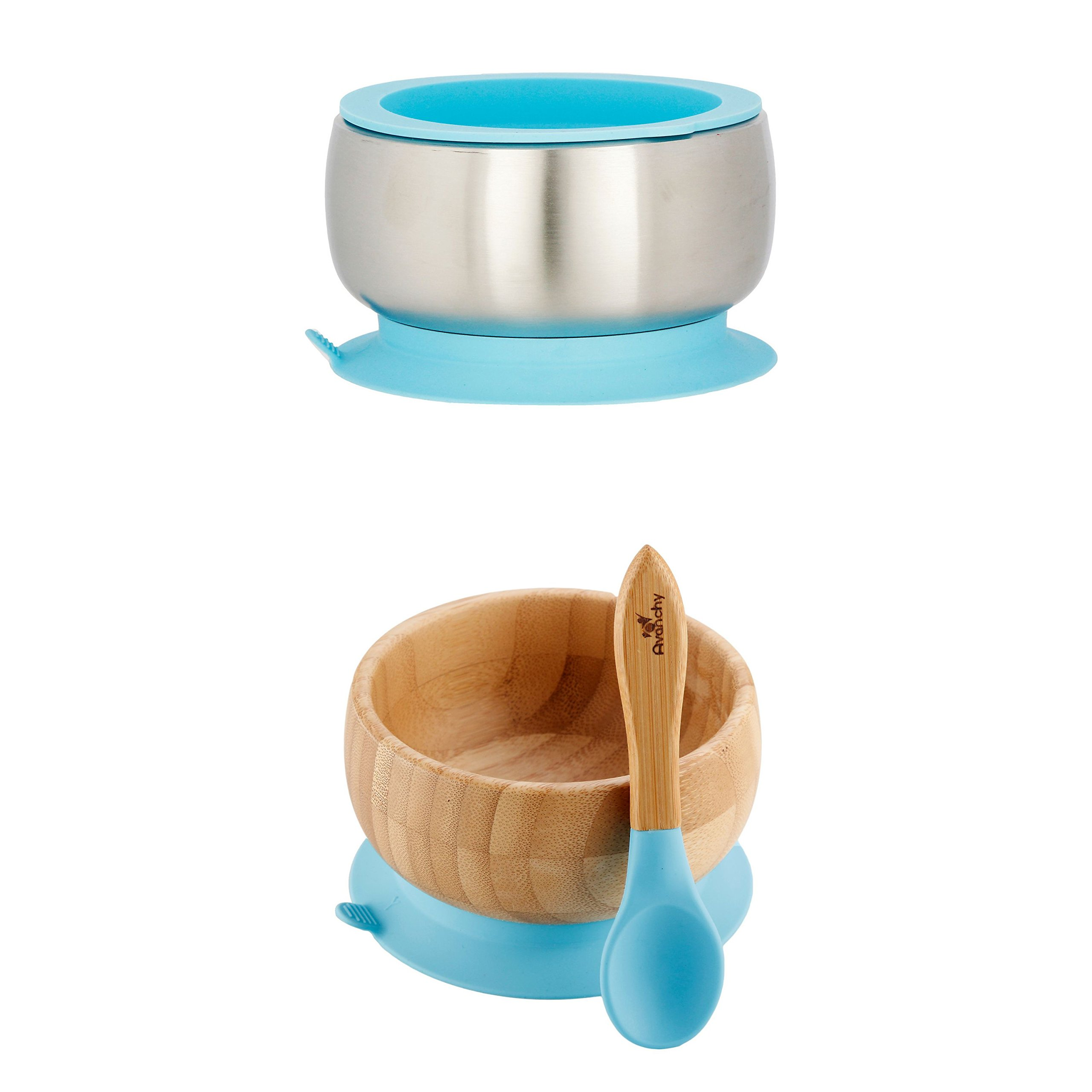 Avanchy Sustainable Bundle Blue - Bamboo Baby Bowls Set + Stainless Steel Baby Bowl Set. Baby Shower, Baby Registry, Home Set. Baby Girl, Baby Boy, Unisex. FDA Approved, BPA Free.