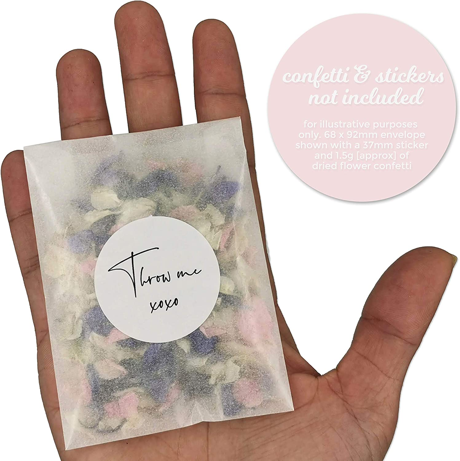 Pack of 50 75 x 55mm Self-Seal Confetti Favours Seed Glassine Bags