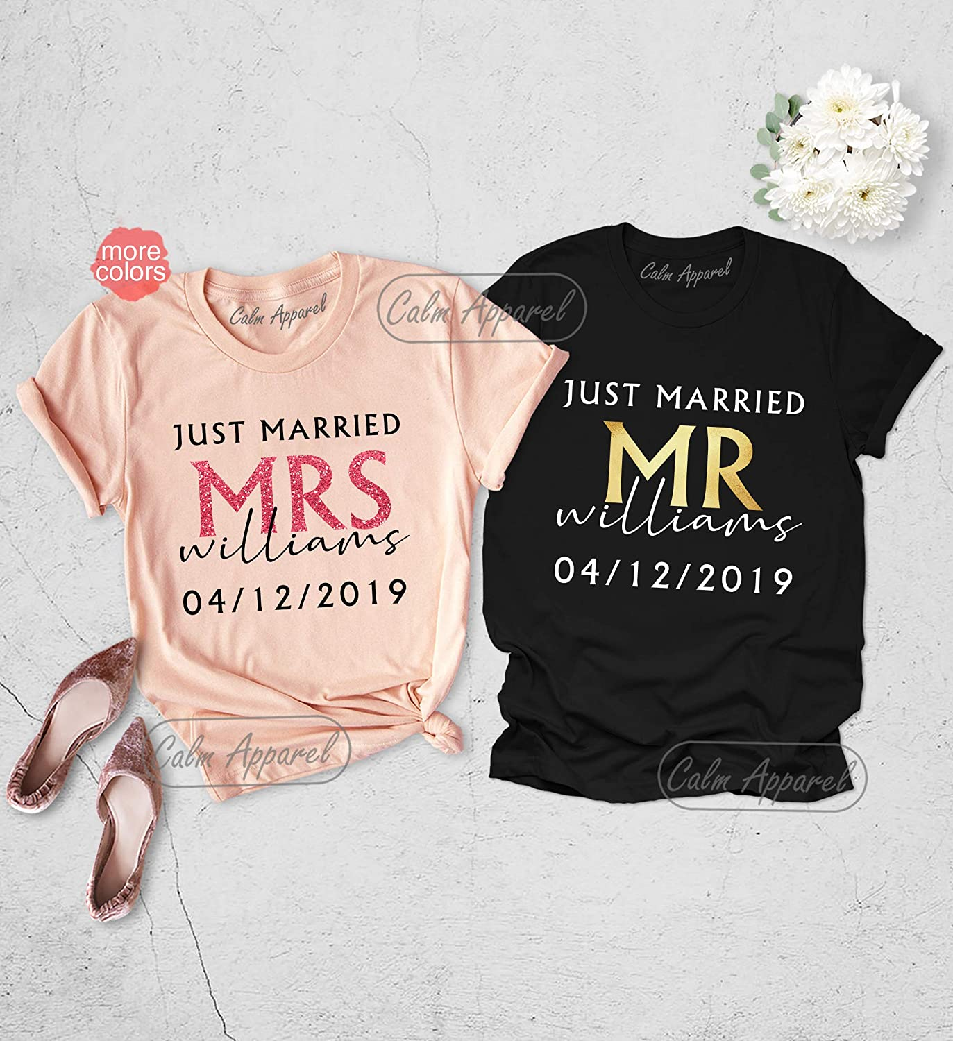 Just Married His and Her couple matching black T-shirts set with mouse ears