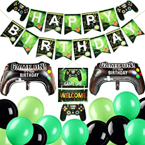 Video Game Party Supplies Include 32 Pieces Video Game Balloons 1 Piece Happy Birthday Gaming Banner and 1 Piece Game On Welcome Hanging Decor for Kids and Boys Birthday Party