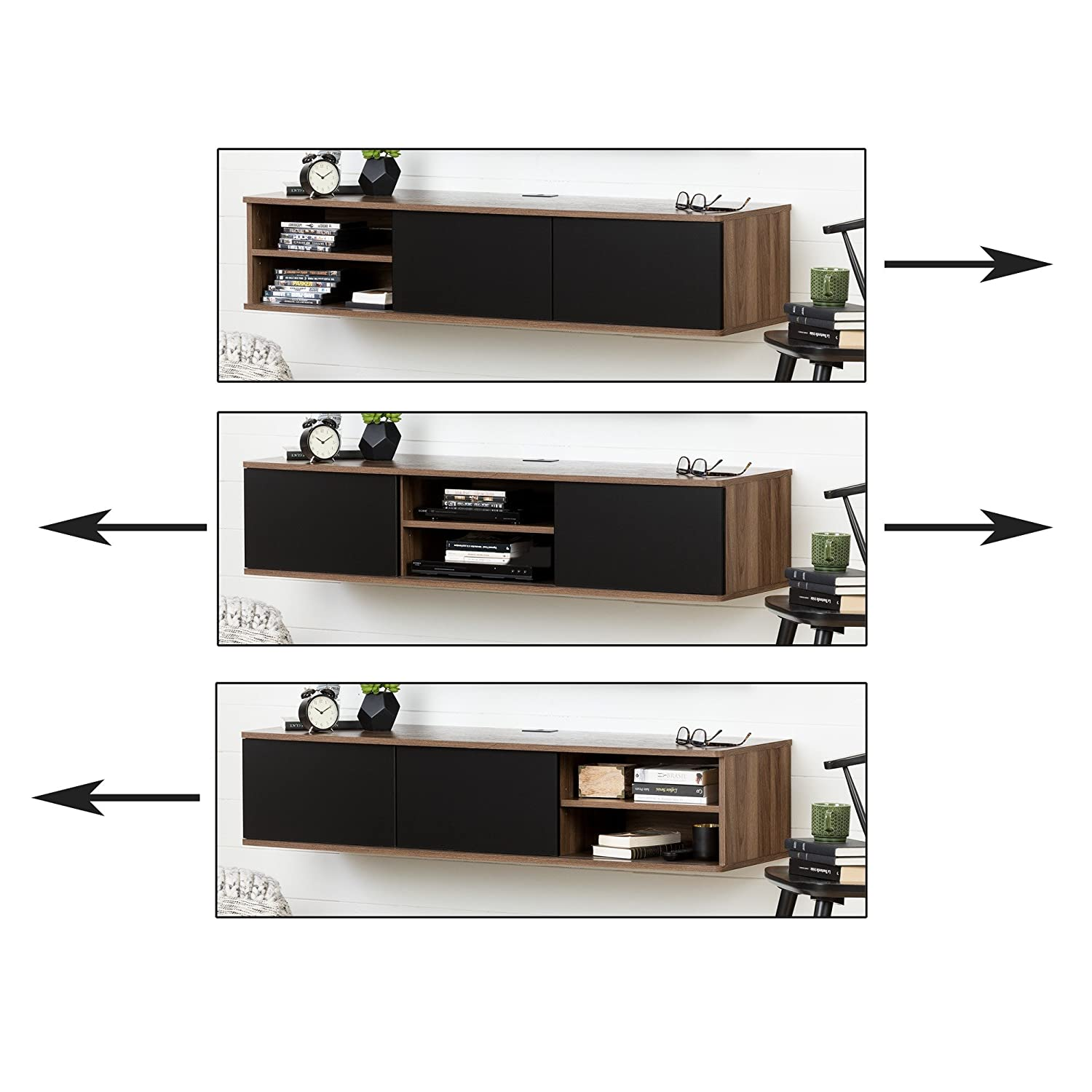 South Shore Furniture Agora 56 Wide Wall Mounted Media Console,