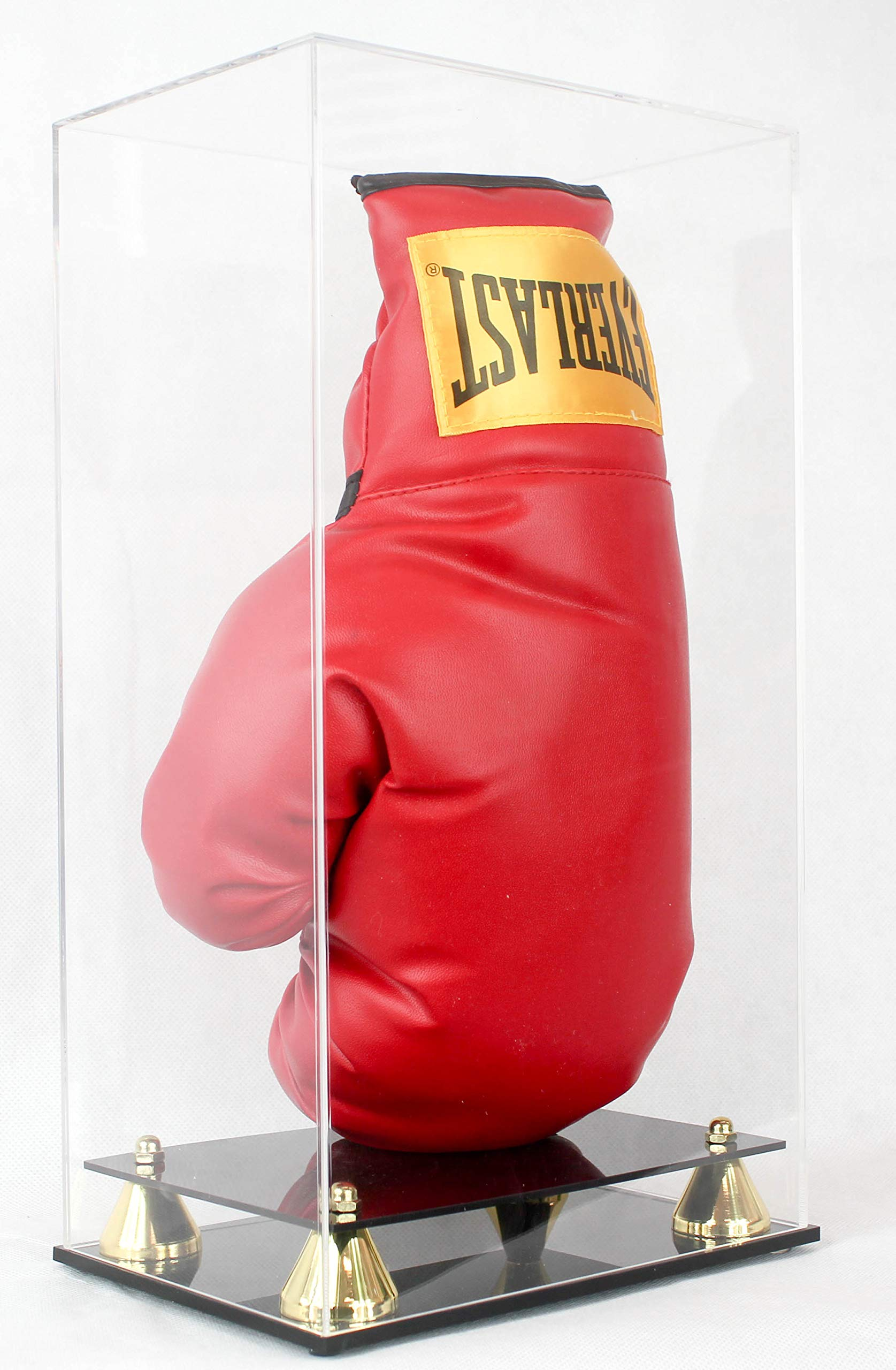 Boxing Glove Display Case Holder Showcase, with Stands for The Gloves, UV Protection, Elegant Riser Stand (One Glove)