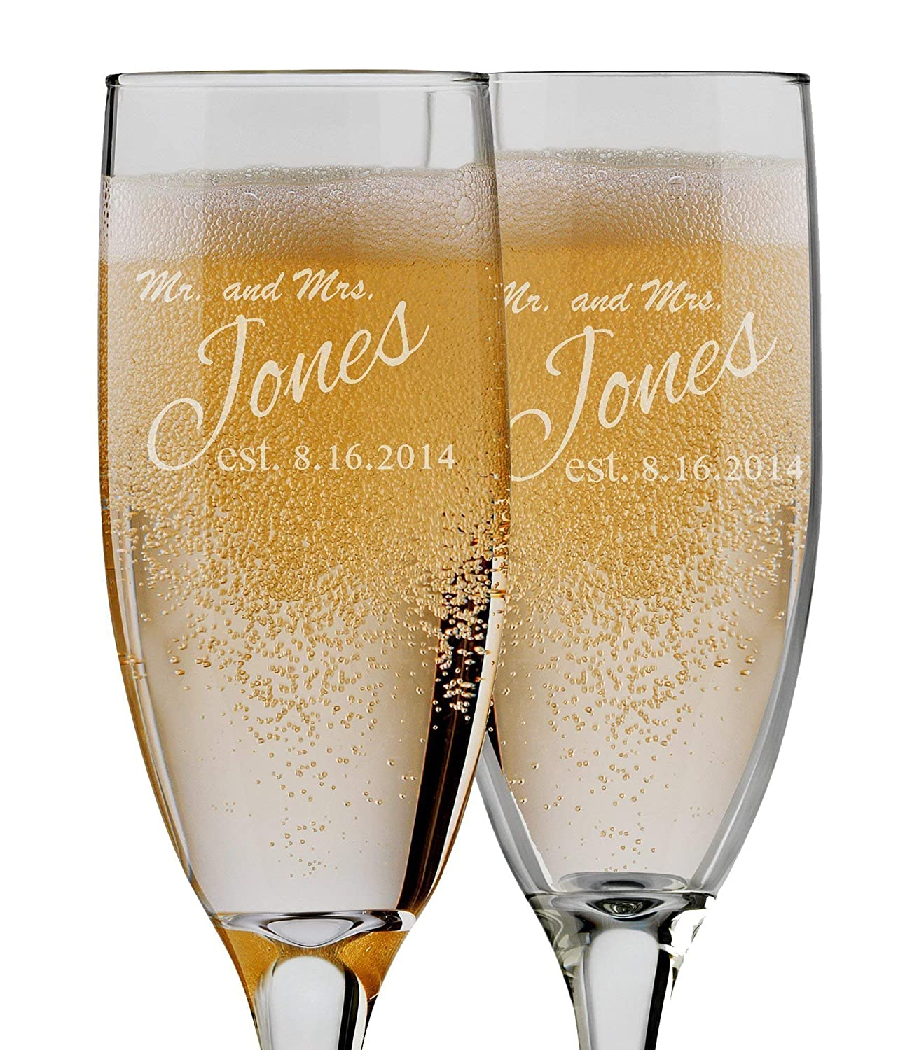 Bride and Groom Champagne Flutes - Set of 2 Personalized - 6 oz Custom Engraved Glasses - Monogram Mr and Mrs Toasting Couple Wedding Gift