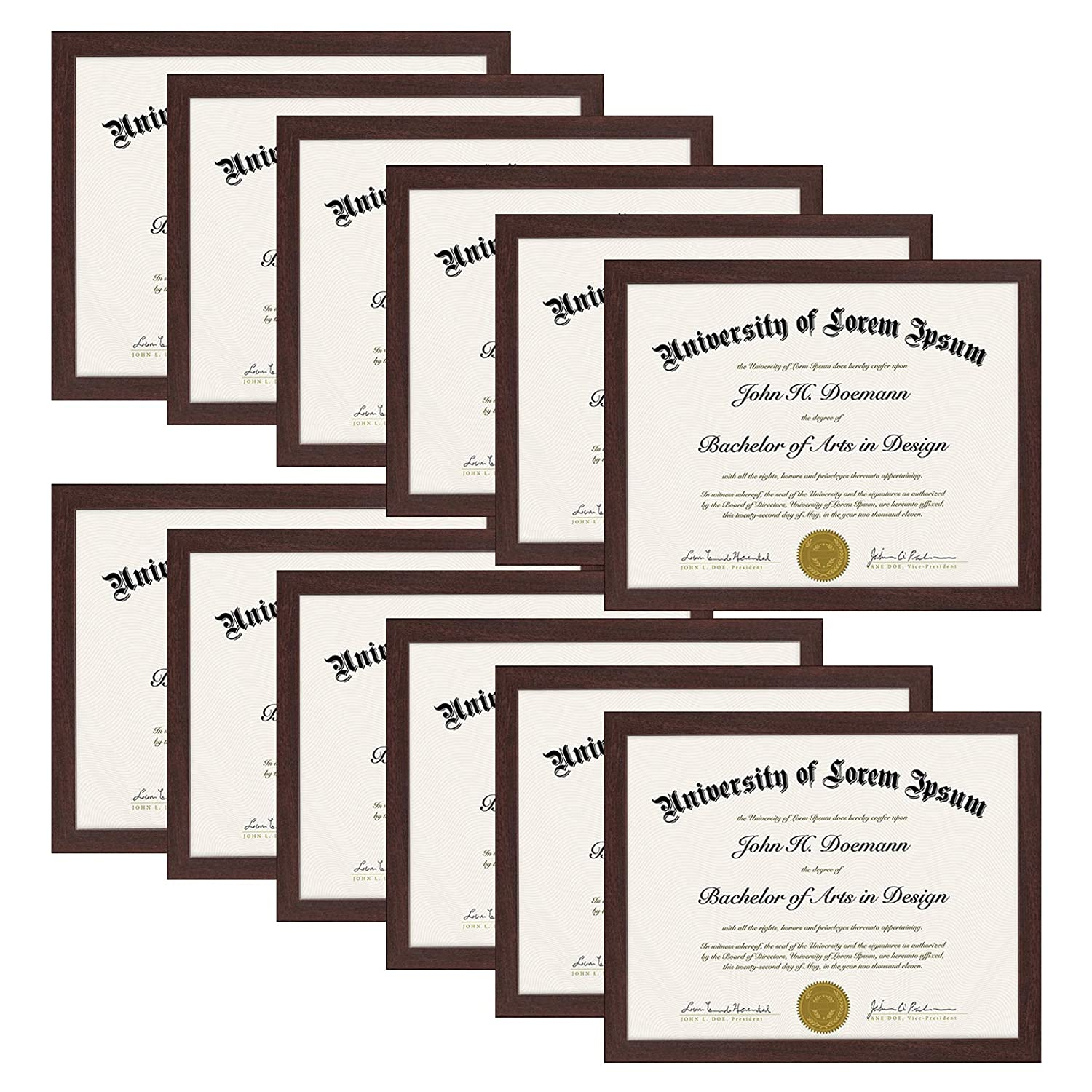 Americanflat Mahogany Document Frame - Made to Display Certificates 8.5x11, Classic Style, Mahogany Brown - Document Frames, Certificate Frames, Diploma Frames DO8511MWWA1