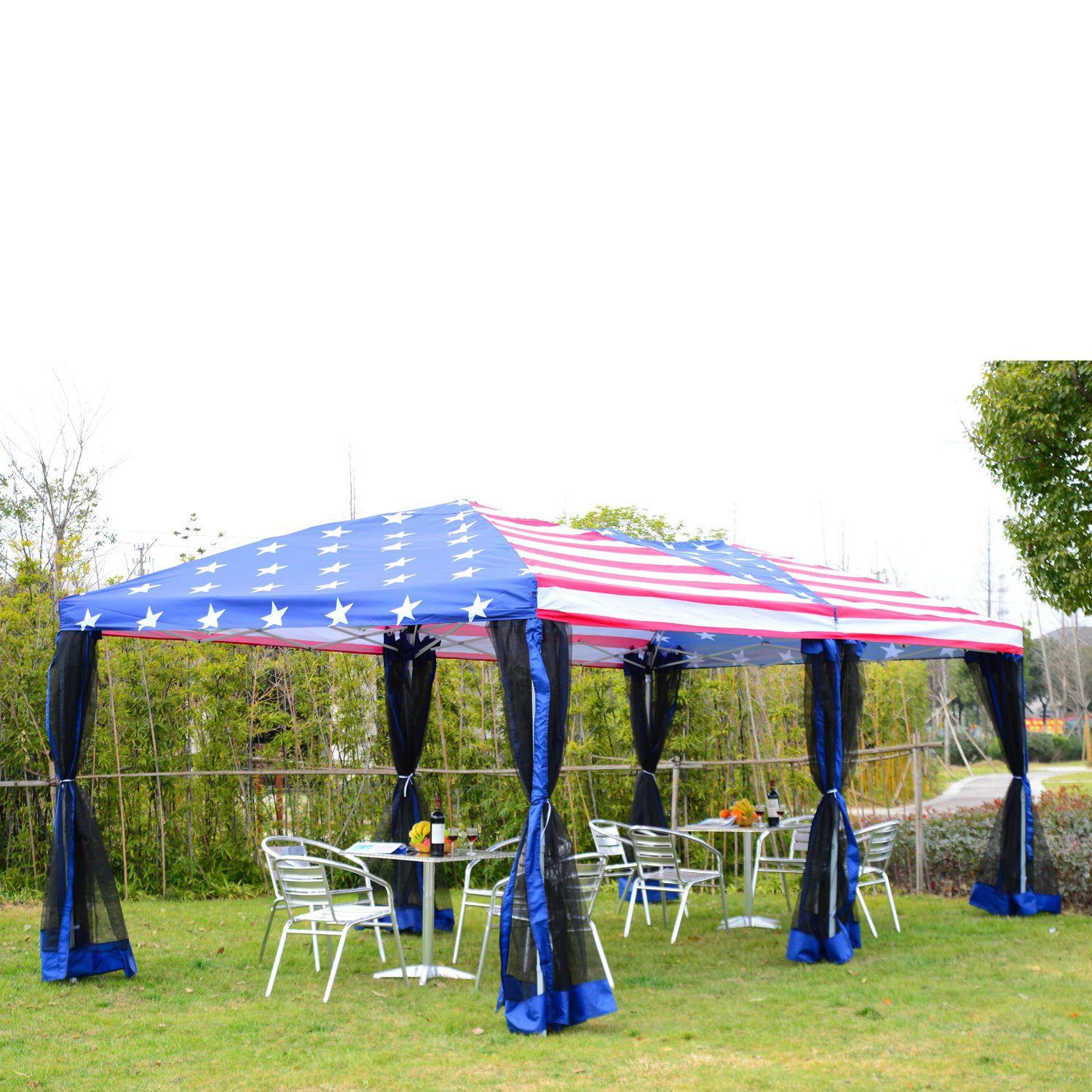 10x20ft Pop-Up Tent Party Wedding Canopy Gazebo Patio Outdoor USA Flag by MTN Gearsmith