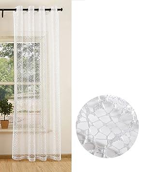 76996a9df365f3 Gardine Netz Struktur mit Ösen einfarbig transparent Deko Vorhang  Netzvorhang 1 Stück 245x140 Weiß, 203522