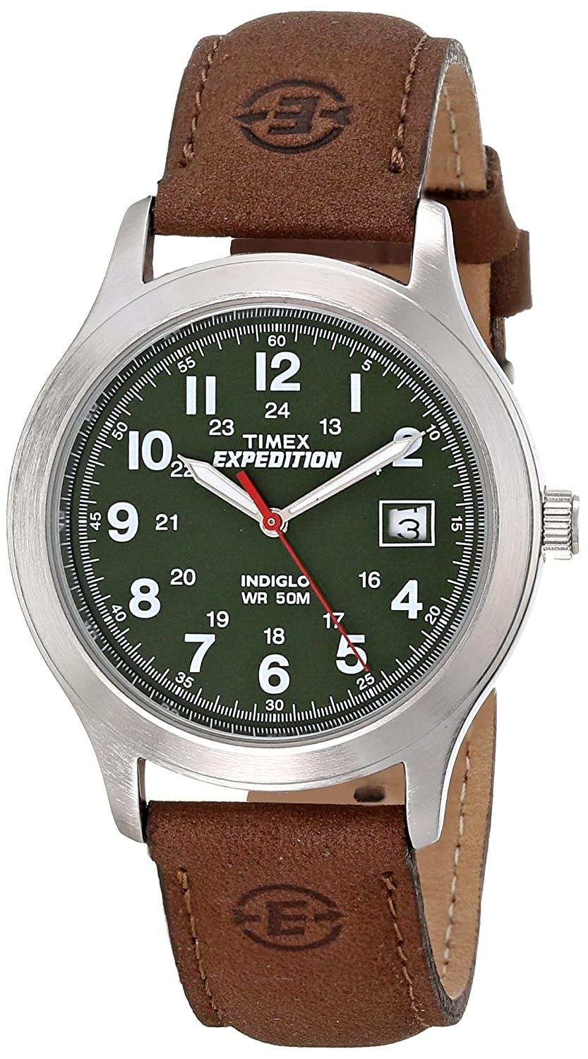 46a899029 Amazon.com: Timex Men's T40051 Expedition Metal Field Brown Leather Strap  Watch: Timex: Watches