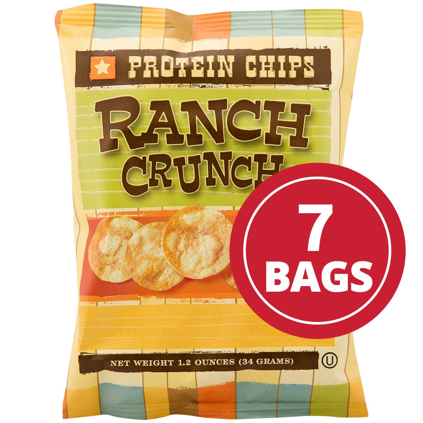 NutriWise - Ranch Crunch Chips | 10g Protein Potato Crisps | High Protein, Low Calorie, Low Cholesterol, High Fiber (7 Bags) by NutriWise