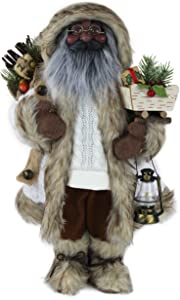 "16"" Inch Standing Fleece and Cable Knit Woodland Ethnic African American Santa Claus Christmas Figurine Figure Decoration 167200A"