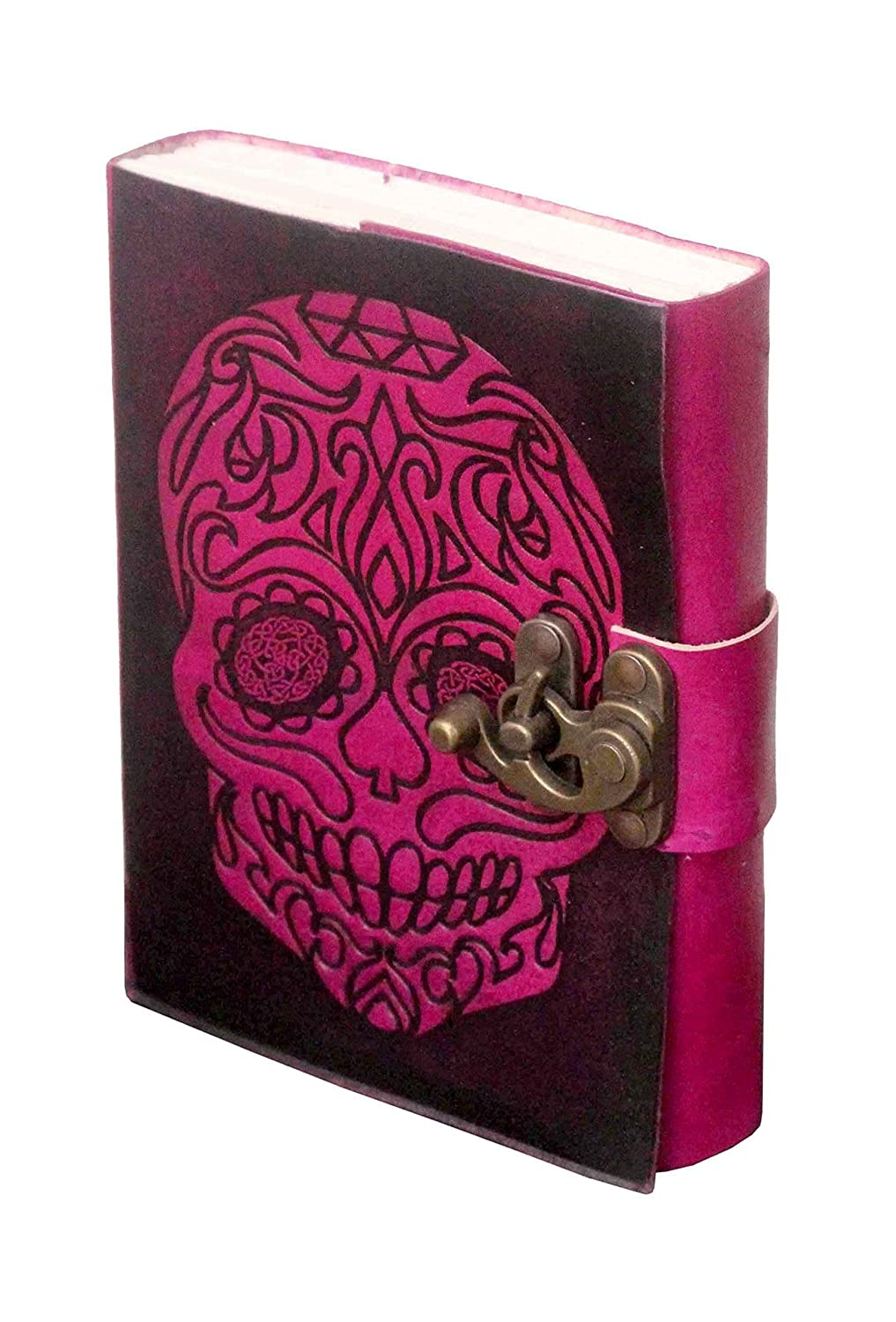 Handmade Purple Skull Embossed Leather Journal Pocket style Double Color Metal Lock