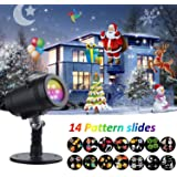 Christmas Projector Lights ,YMing Waterproof 14 Moving Pattern Snowflake Star Holiday Shower Projector Outdoor Slides Show Projection Lighting for Xmas Birthday Wedding Party Decoration