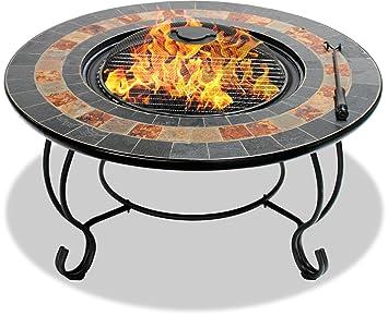 Centurion Supports Fireology Dakota jardín y patio calentador hoguera, mesa de café, barbacoa y cubo de hielo con pizarra azulejos: Amazon.es: Jardín