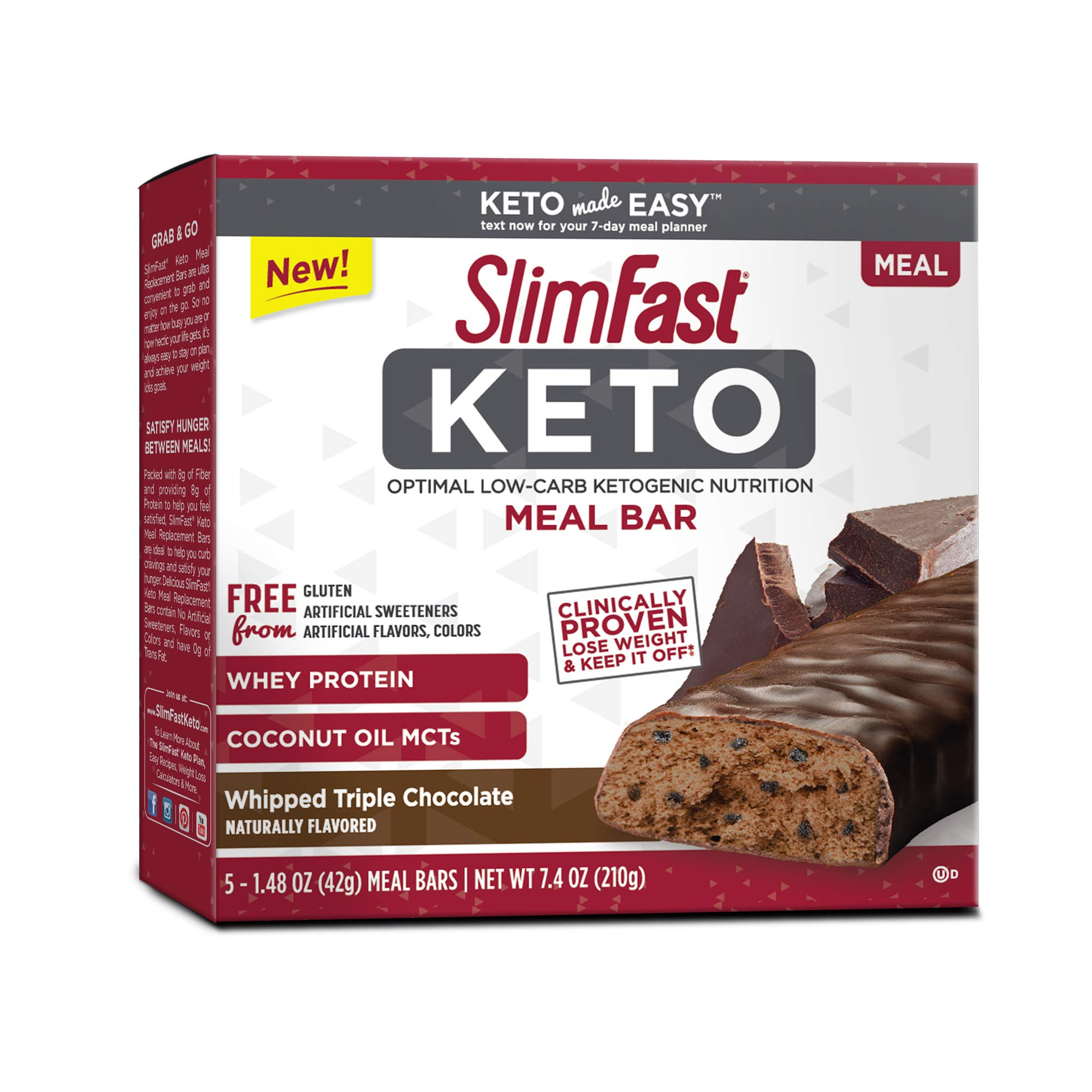 SlimFast Keto Meal Replacement Bar Whipped Triple Chocolate 1.48 oz 5 Bars per Pack (4 Boxes) by Slimfast Keto