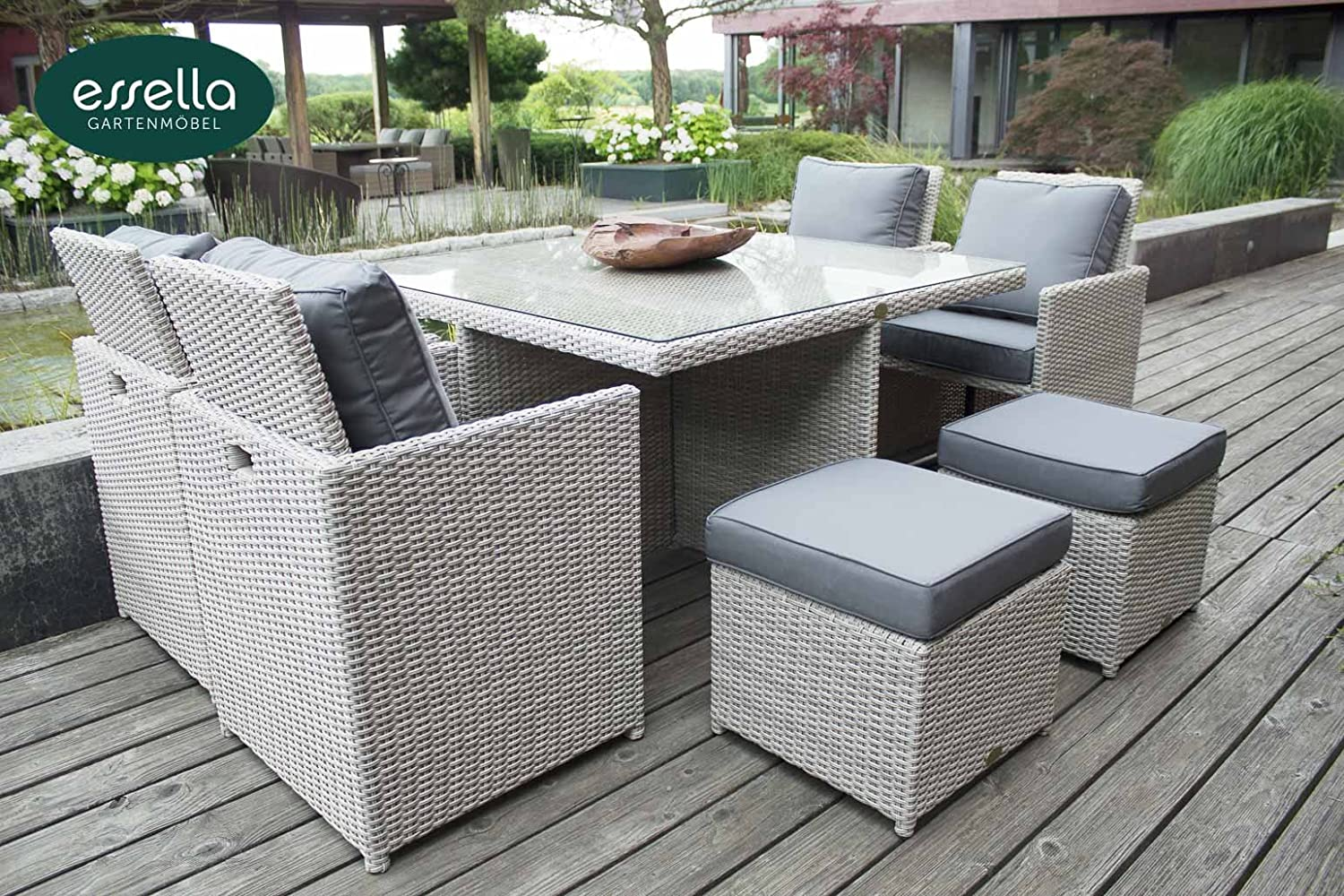 polyrattan sitzgruppe vienna 4 personen rundgeflecht vintage weiss gartenm bel. Black Bedroom Furniture Sets. Home Design Ideas