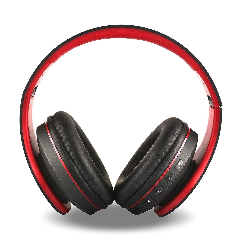 FX-Viktaria ワイヤレスヘッドホン オーバーイヤーヘッドセット マイク付き 折りたたみ式 軽量 TFカード対応 USB充電ヘッドセット MP3モード FMラジオ 携帯電話 ノートパソコン用 ブラックレッド 13   B07Q82NRHL