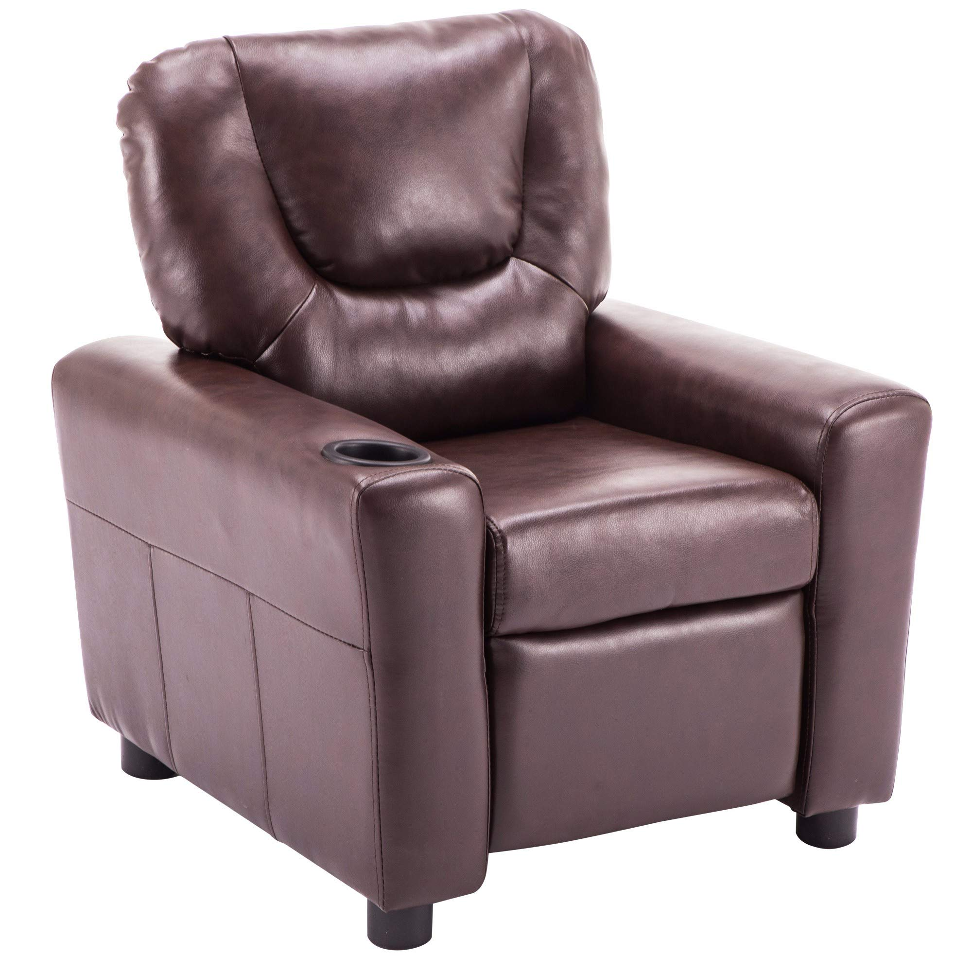 MCombo Kids Recliner Armchair Children's Furniture Sofa Seat Couch Chair w/Cup Holder 7240 (Dark Brown) by MCombo