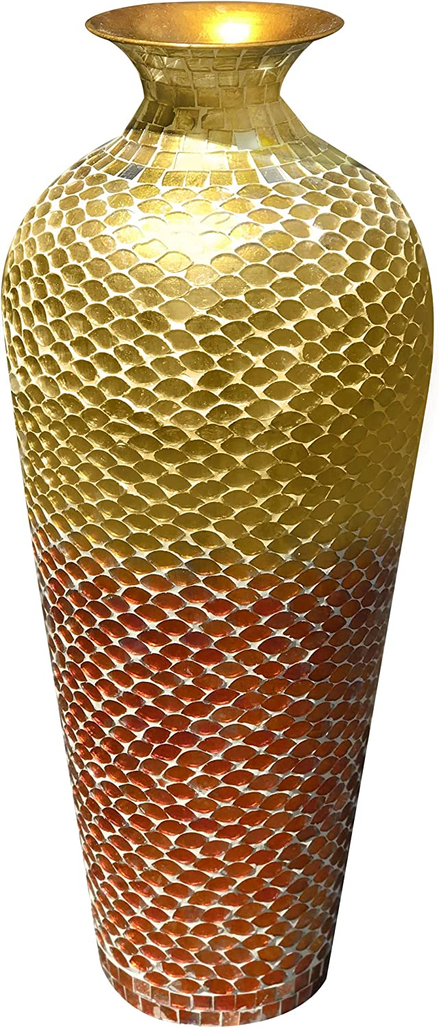 DecorShore Glass Mosaic Vase in Shades of Amber Gold, Tangerine Orange & Red - Tall 20 in x 6 in Home Decor Geometric Pattern Metal Floor Vase with Glass Mosaic. Bella Palacio Decorative Mosaic Vase.