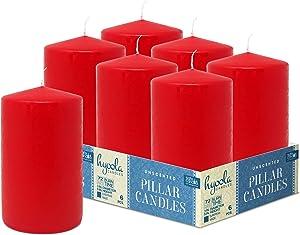 HYOOLA Red Pillar Candles 3x5 Inch - Unscented Pillar Candles - 6-Pack - European Made