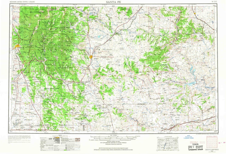 santa fe nm elevation map Amazon Com Yellowmaps Santa Fe Nm Topo Map 1 250000 Scale 1 X