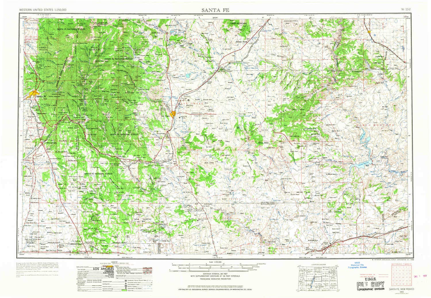Amazon.com : YellowMaps Santa Fe NM topo map, 1:250000 Scale, 1 X 2 on