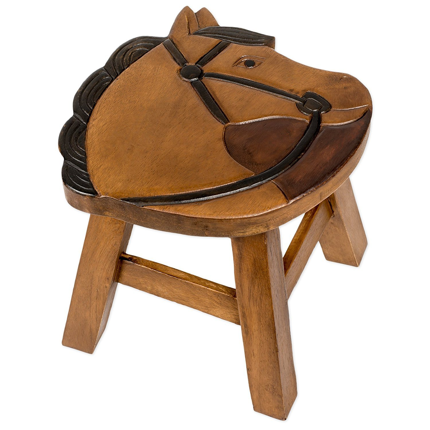 Horse Design Hand Carved Acacia Hardwood Decorative Short Stool Sea Island Imports Inc. SYNCHKG091480