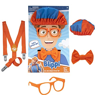 Blippi Dress Up Set - Includes Hat, Glasses, Bowtie and Suspenders: Toys & Games