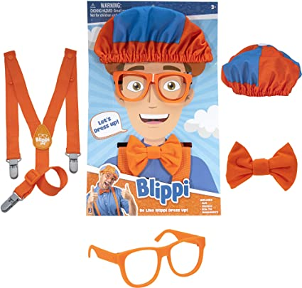 Adjustable and Clip On Blippi Kids Orange Suspenders and Bow Tie for Children
