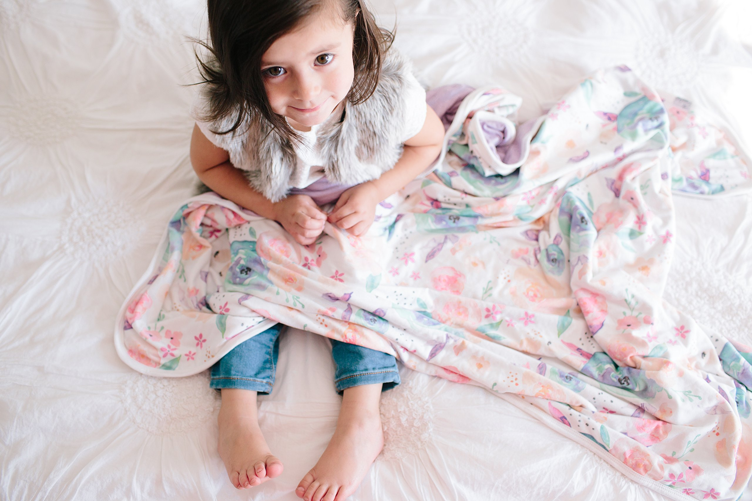 Large Premium Knit Baby 3 Layer Stretchy Quilt Blanket Floral''Bloom'' by Copper Pearl by Copper Pearl (Image #3)