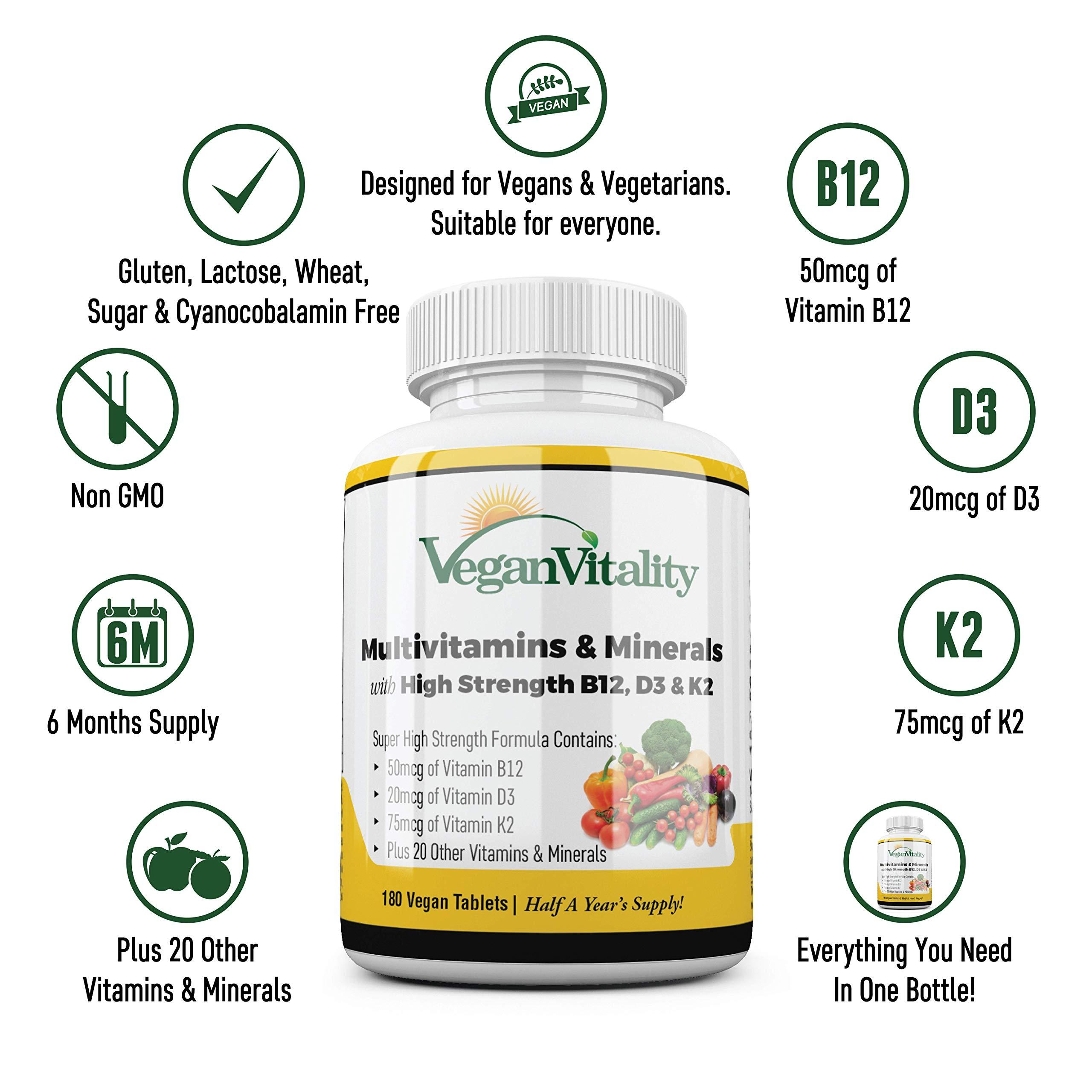 Multivitamines et minéraux végétaliens à haute teneur en vitamine B12, D3 et K2. 180 comprimés de multivitamines - 6 mois d\'approvisionnement. Conçu pour les végétaliens et végétariens