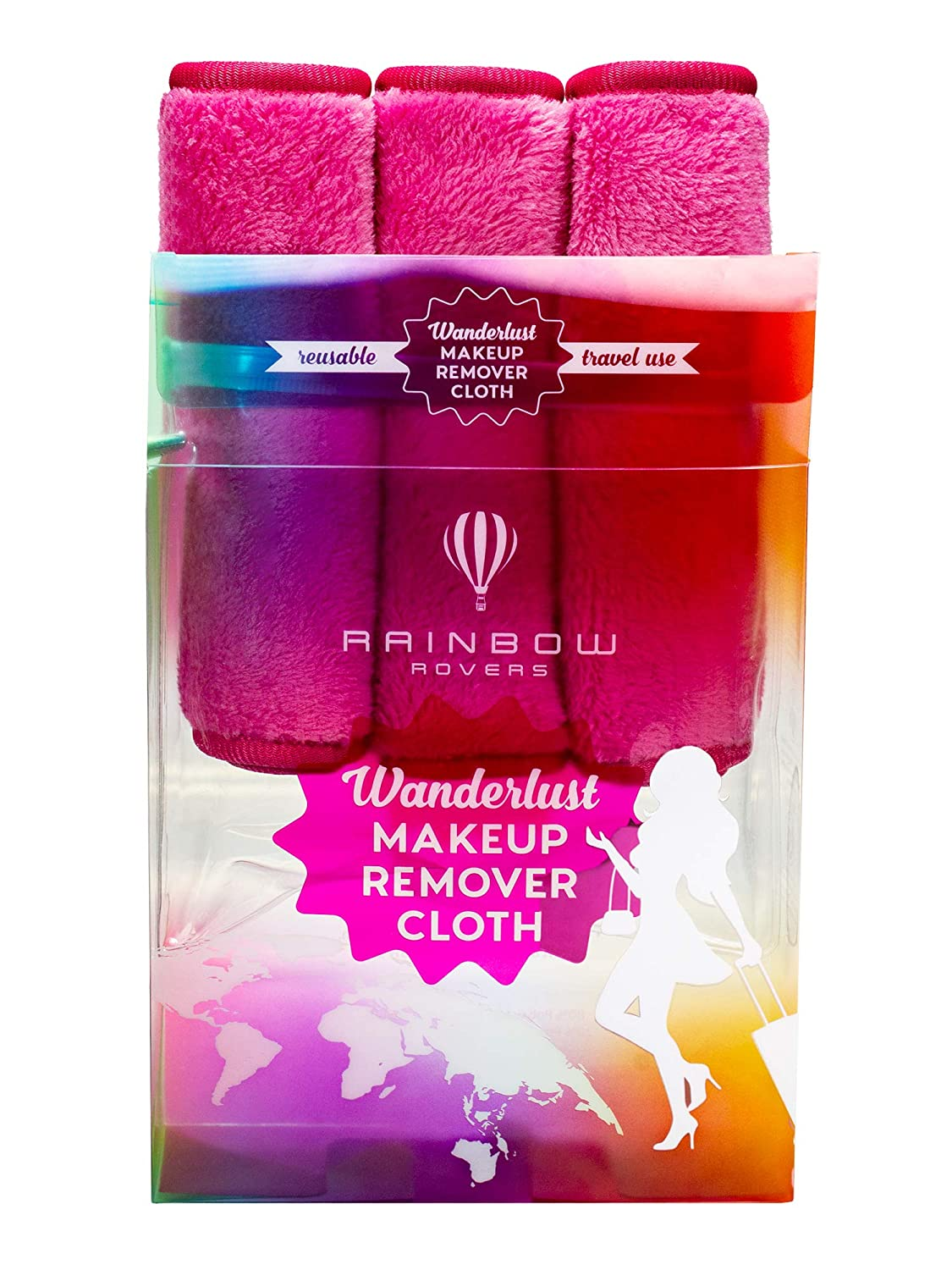 RAINBOW ROVERS Set of 3 Makeup Remover Wipes | Reusable & Ultra-fine Makeup Towels | Suitable for All Skin Types | Removes Makeup with Water | Free Bonus Waterproof Travel Bag | Hot Pink