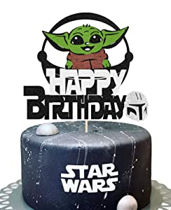 KAPOKKU Cute Baby Yoda Happy Birthday Cake Topper for Star Wars Crew Theme Cake Decor Children Alien Party Decoration Kid's Birthday Party Decoration Supplies