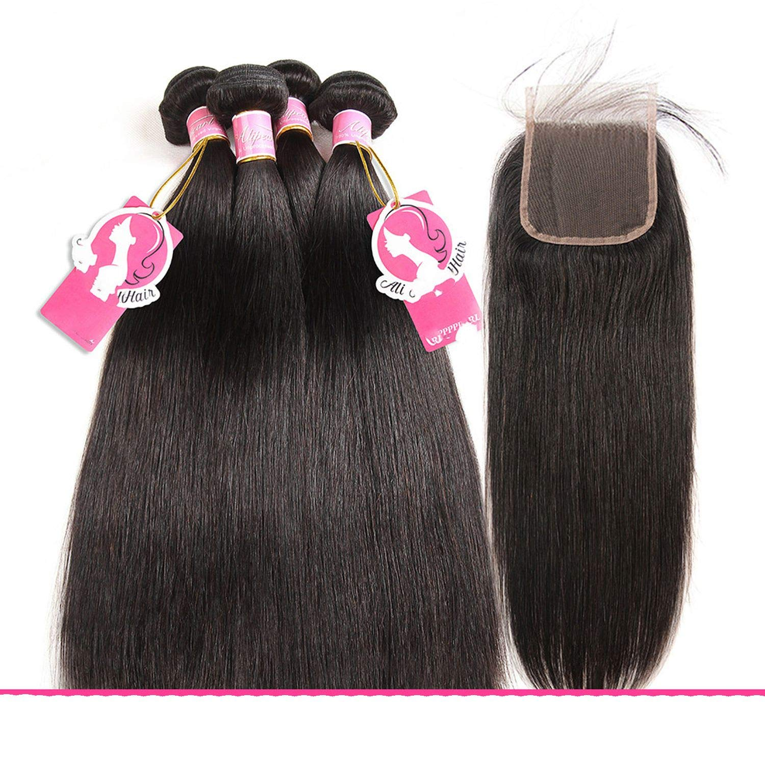 Hair Virgin Curly Weave Human Hair With Closure 4PCS Brazilian Virgin Hair Weave Bundles with Closure Swiss Lace Hair,18 & 20 & 22 & Closure 16,Natural Color,Free Part