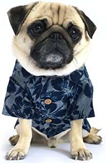 product image for Dog Threads™ Cool Breeze BBQ Shirt Denim Floral Print Button Down Dog Shirt Navy