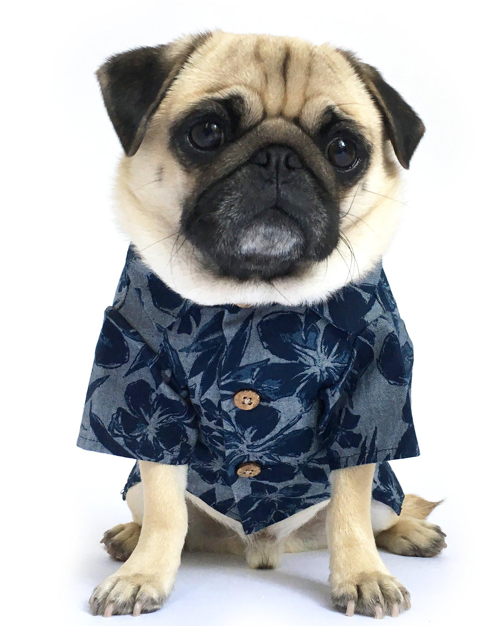 Dog Threads Denim Dog Shirt Cool Breeze BBQ Shirt Denim Floral Print Button Down Dog Shirt Navy (L (28-36lbs))